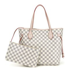 RICHPORTS Checkered Tote Shoulder Bag with inner pouch - PU Vegan Leather (white) | Walmart (US)