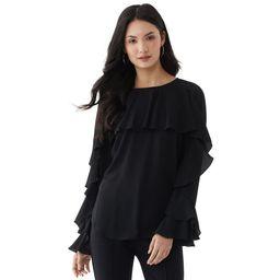 Scoop Women's Long Sleeve Ruffle Top   Walmart (US)