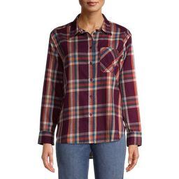 Time and Tru Women's Plaid Button Front Shirt   Walmart (US)