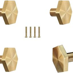 4Pcs Solid Brass Hexagon Cabinet Knobs, Single Hole Small Knobs Handle, Home Decorating Kitchen F... | Amazon (UK)