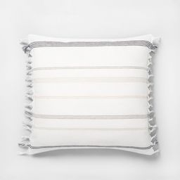 """18"""" x 18"""" Knotted Fringe Stripes Throw Pillow / Sour Cream - Hearth & Hand™ with Magnolia   Target"""