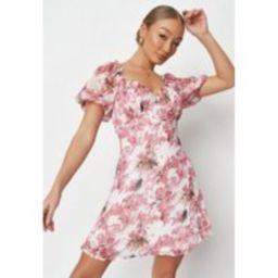 Pink Floral Print Chiffon Milkmaid Skater Dress | Missguided (US & CA)