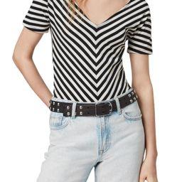Women's Allsaints Keavey Chevron Stripe Stretch Cotton Bodysuit, Size X-Small - Black   Nordstrom
