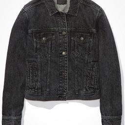 AE Classic Black Denim Jacket Women's Black M | American Eagle Outfitters (US & CA)