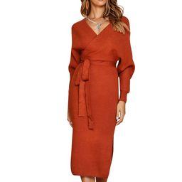 Fashion Winter Women Long Sleeve Casual V-Neck Sweater Midi Dress Ladies Slim Fit Maxi Wrap Kimon... | Walmart (US)