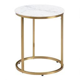 Round White Marble Milan Accent Table | World Market