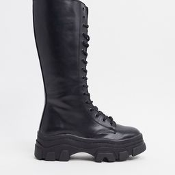 Bershka high lace up boots with track sole in black | ASOS (Global)