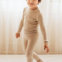 Kids Beige Solid Knit Pajama Set   Morning Lavender