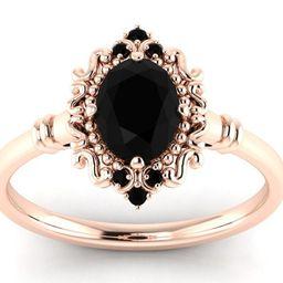 Antique Black Onyx Engagement Ring Rose Gold Black Onyx Art | Etsy | Etsy (US)