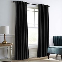 Dreaming Casa Darkening Black Velvet Curtains for Living Room Thermal Insulated Rod Pocket Back T... | Amazon (US)