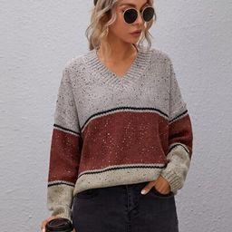 Drop Shoulder Color Block Oversize Sweater | SHEIN