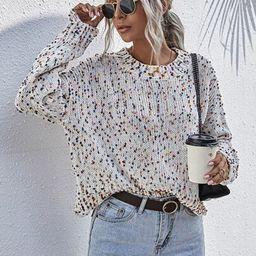 Drop Shoulder Distressed Flecked Sweater | SHEIN