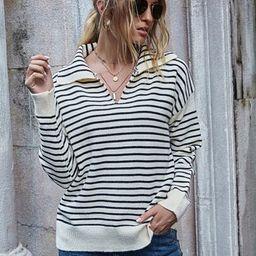 Striped Pattern Drop Shoulder Sweater | SHEIN