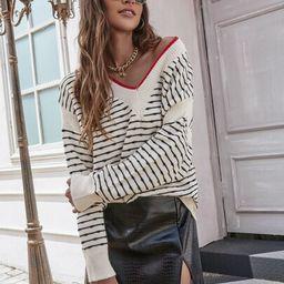 V-neck Striped Drop Shoulder Sweater | SHEIN