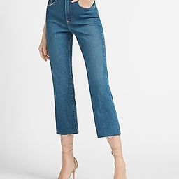High Waisted Raw Hem Cropped Flare Jeans | Express