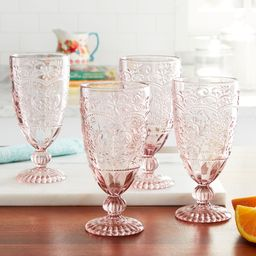 The Pioneer Woman Amelia 14.7-Ounce Rose Tea Goblets, Set of 4 | Walmart (US)