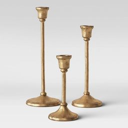 3pc Aluminum Taper Candle Holders Gold - Threshold™ | Target