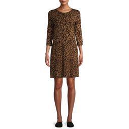 Time and Tru Women's 3/4 Sleeve Knit Dress | Walmart (US)