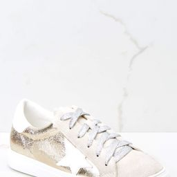 Getting Better Gold Sneakers | Red Dress