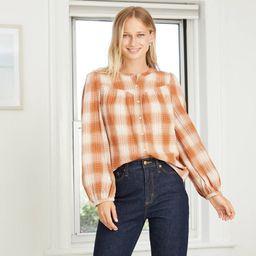 Women's Plaid Puff Long Sleeve Button-Front Blouse - Universal Thread Brown XL | Target