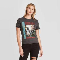 Women's Nirvana Short Sleeve Boyfriend Graphic T-Shirt - Black | Target