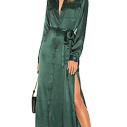L'Academie The Long Sleeve Shirt Dress in Emerald from Revolve.com | Revolve Clothing (Global)
