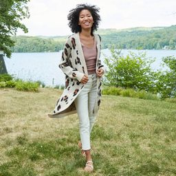 Women's Leopard Print Cardigan - Knox Rose Gray XL | Target