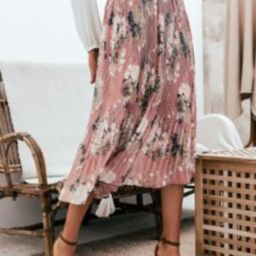 Simplee Paperbag Waist Pleated Floral Skirt | SHEIN