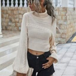 Solid Turtleneck Cable Knit Sweater | SHEIN
