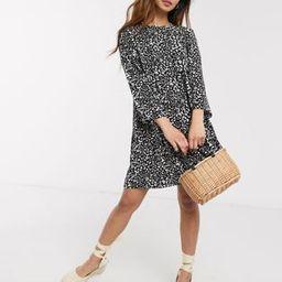 ASOS DESIGN long sleeve smock mini dress in mono leopard | ASOS (Global)
