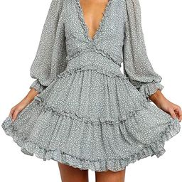 Dokotoo Womens Square Neckline Long Sleeve Floral Print Mini Dress | Amazon (US)