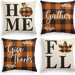 AVOIN Home Fall Buffalo Check Plaid Pumpkin Maple Leaf Throw Pillow Cover, 18 x 18 Inch Autumn Gi... | Amazon (US)