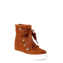Time and Tru Women's Faux Fur Lace-Up Booties | Walmart (US)