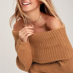 Carmichael Light Brown Off-the-Shoulder Knit Sweater | Lulus (US)