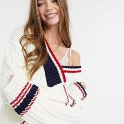 ASOS DESIGN V neck sweater in mixed stripe in cream | ASOS (Global)
