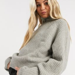 Weekday Gaia chunky knit funnel sweater in gray marl   ASOS (Global)