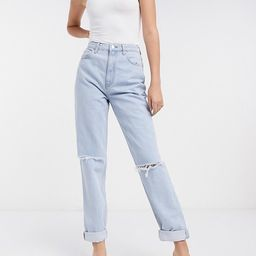 ASOS DESIGN Tall recycled high rise 'slouchy' mom jeans brightwash | ASOS (Global)