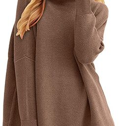Prinbara Women's Long Sleeve Mock Neck Sweater Dress Loose Fitting Knit Pullover Tops Slouchy Tun... | Amazon (US)