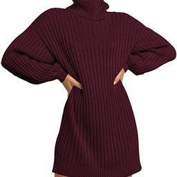 Prinbara Women Turtleneck Long Lantern Sleeve Casual Loose Oversized Sweater Dress Soft Winter Pu... | Amazon (US)