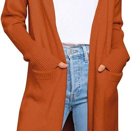 Prinbara Women's Casual Open Front Knit Cardigans Long Sleeve Plush Sweater Coat with Pockets | Amazon (US)