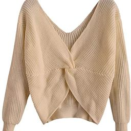 ZAFUL Women's V-Neck Criss Cross Twisted Back Pullover Knitted Sweater Jumper Crop Tops | Amazon (US)