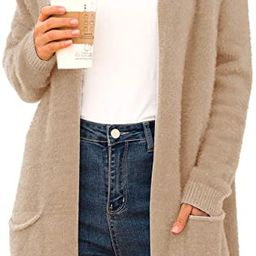 QIXING Women's Casual Open Front Knit Cardigans Long Sleeve Plush Sweater Coat with Pockets | Amazon (US)