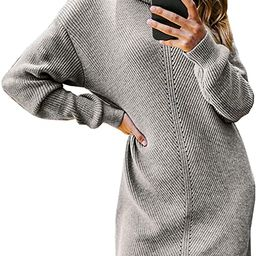 Miessial Women's Thick Cable Knit Turtleneck Sweater Midi Dress Winter Elasticity Long Pullover S... | Amazon (US)