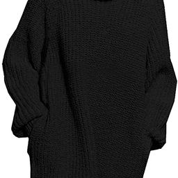 Pink Queen Women's Loose Oversize Turtleneck Wool Long Pullover Sweater Dress | Amazon (US)