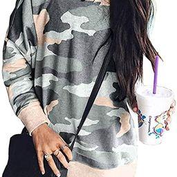 BTFBM Women's Leopard Print Long Sleeve Crew Neck Fit Casual Sweatshirt Pullover Tops Shirts | Amazon (US)