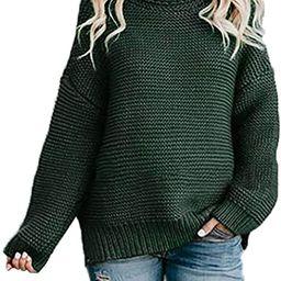 Asvivid Womens Turtleneck Long Sleeve Chunky Knit Pullover Sweater Tops | Amazon (US)