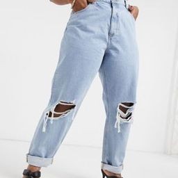 ASOS DESIGN Curve recycled high rise 'slouchy' mom jeans in lightwash with rips | ASOS (Global)