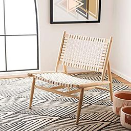 Safavieh Home Soleil White and Natural Leather Woven Accent Chair | Amazon (US)