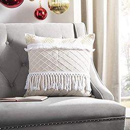 Safavieh Home Gurti White and Beige Boho Fringe Tassel 18-inch Decorative Pillow Pillow | Amazon (US)