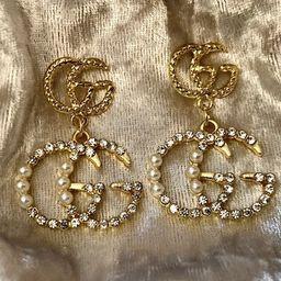 GG Chandelier Earrings Designer Diamond Pearl Earrings Jewelry   Etsy   Etsy (US)